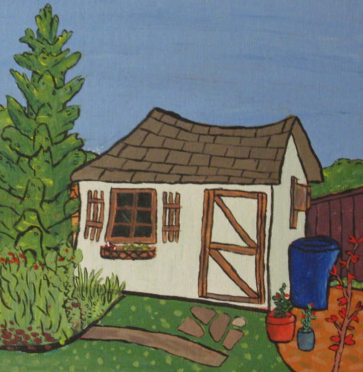 Summer backyard shed painting by Brendan McHale