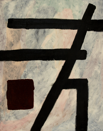abstract painting with forceful black lines pressing rightward over diffuse grey and rose background