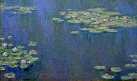detail of water lilies painting by Claude Monet