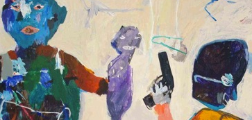 detail from a Yaser Safi painting of a man brandishing a gun