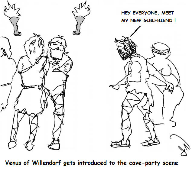 a caveman introduces Venus of Willendorf, plump and faceless like her statuettes, to the cave-party scene