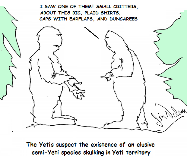 A pair of Yetis suspect humans are skulking round their territory