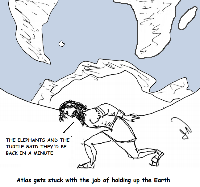 The elephants and turtles trick Atlas into holding up the Earth for them