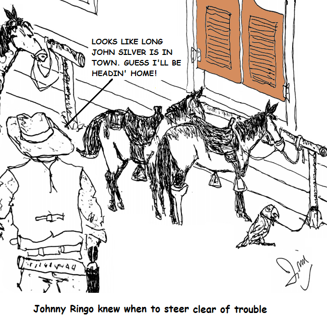 gunslinger Johnny Ringo steers clear when he sees Long John Silver's peg-legged horse parked by the saloon