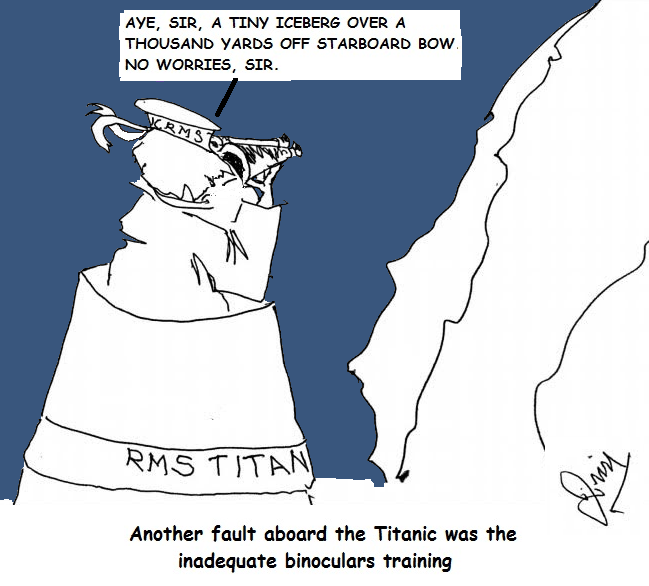a lookout on the Titanic, holding binoculars the wrong way, believes the iceberg is far away