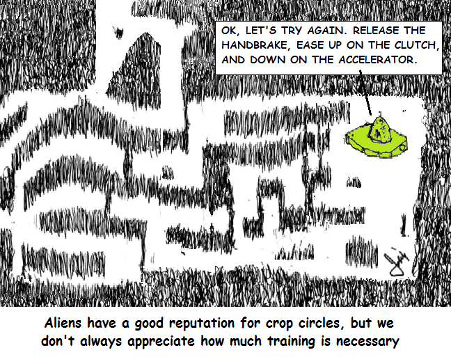 An alien flying saucer instructor tells a trainee how to make crop circles