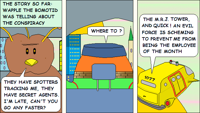 Panel 2 -- An evil force wants to block Wapple from being employee of the month
